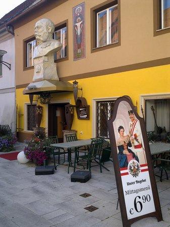 K.u.K. Restaurant Zum Kaiser Franz Joseph: Huge bust of the Emperor over the entrance of the restaurant