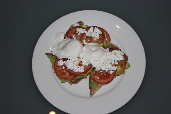 Quest Gordon Place: Avocado, feta and tomato on sourdough bread with eggs from Deli 1886