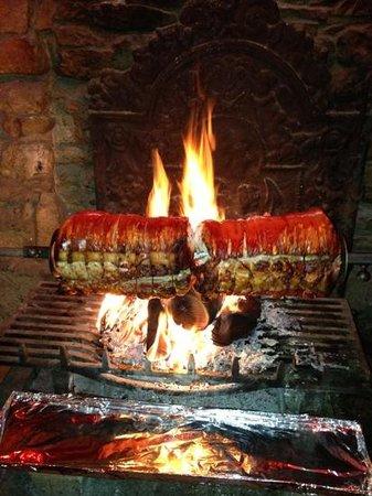 The Plough Inn Restaurant: roast pork on the spit