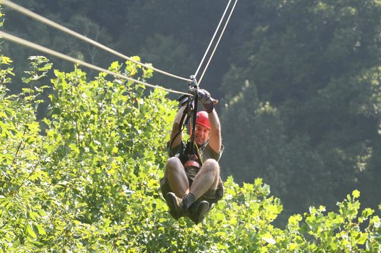 Navitat Canopy Adventures - Asheville Zipline : I'm using the cannonball approach (more or less)!