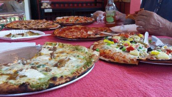 Smoky Mountain Bakers: White pizza, veggie pizza, bacon/sausage/ham pizza, pepperoni pizza, cheeseburger pizza