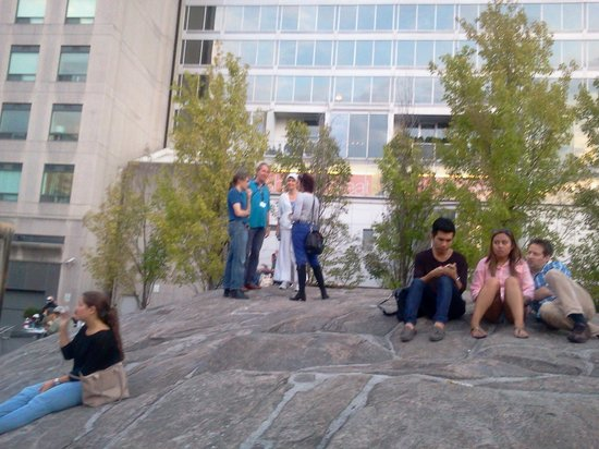 Yorkville: people sitting on the rock