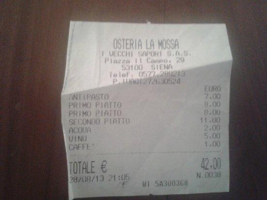 Osteria La Mossa: Scontrino cena del 28 agosto 2013