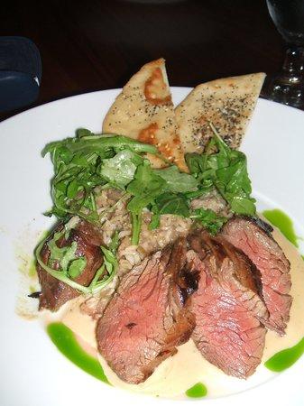 Cafe Vino: Hanger Steak with Tahini sauce.