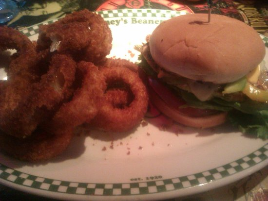 Barney's Beanery : Monster burger with onion rings