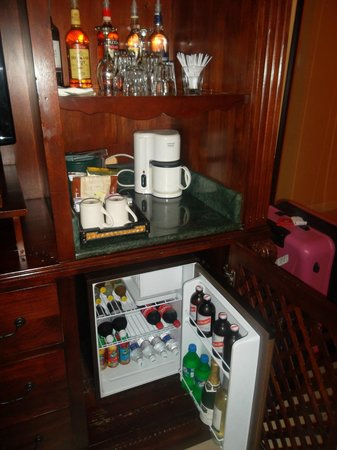 Sandals South Coast: Mini Bar In Our Honeymoon Beachfront Concierge Room