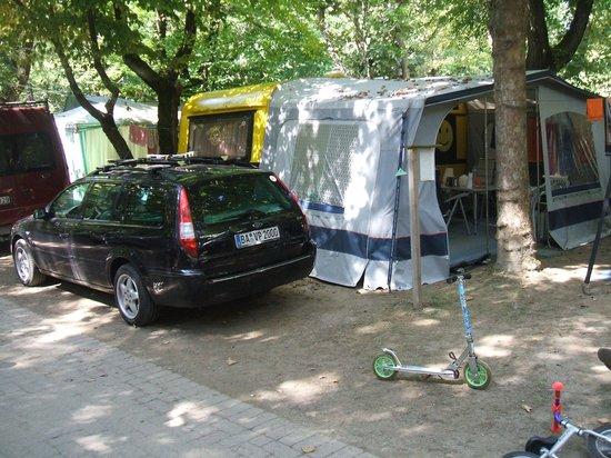 Camping Sabbiadoro: Stellplatz 2013 groß genug für Caravan,Vorzelt und PKW