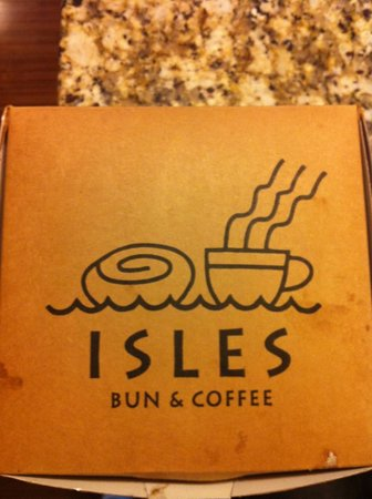 Isles Bun & Coffee Company: Cinnamon bun in a box to go