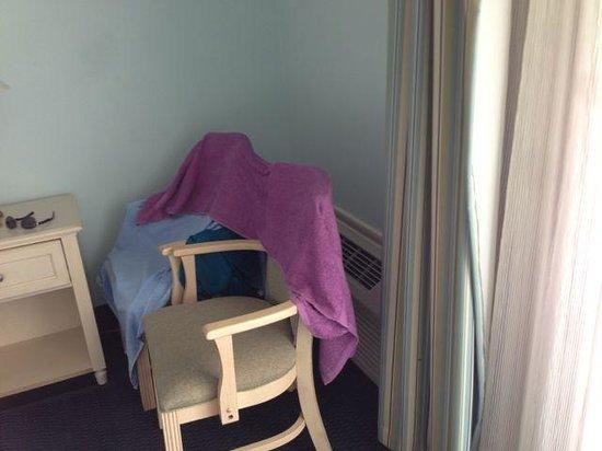 Carolinian Beach Resort: My A/C towel wall to redirect the A/C air.