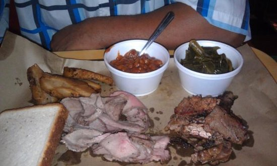 Dixie Grill: Brisket, pork belly, tri- tip collards beans