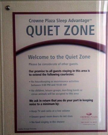 Crowne Plaza Hotel Nashua: Quiet zone sign