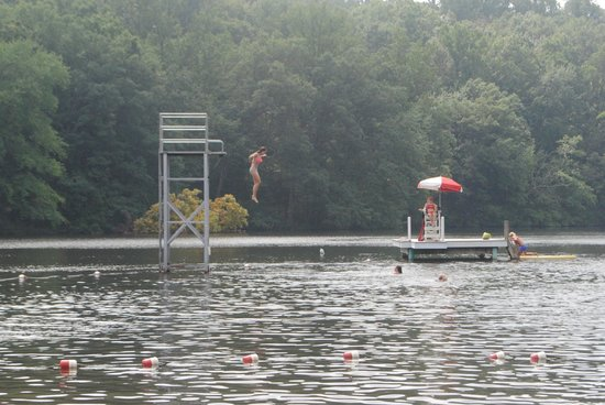 Mt. Gretna Lake & Beach: Jumping off the high dive