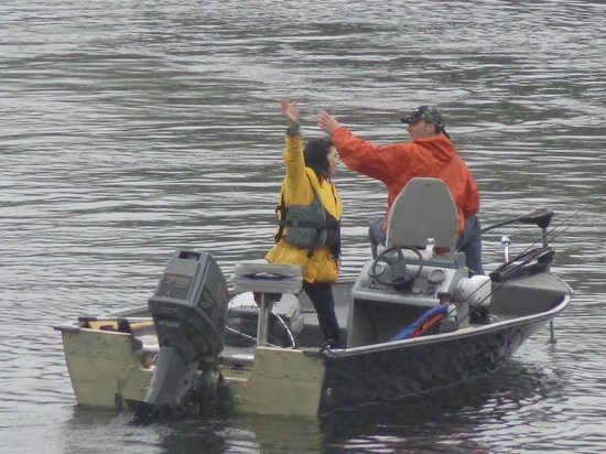 Cambra Sands: Heading out fishing in the rain-still fun!