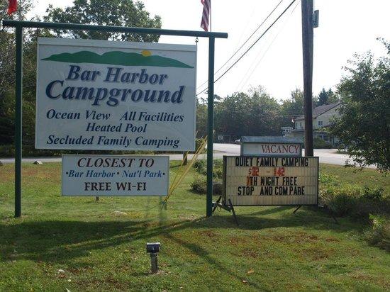 Bar Harbor Campground: Roadside Sign on Highway 3