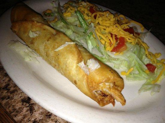 Los Amigos: Hand rolled Chicken Flauta - White chicken/white cheese in a flour tortilla