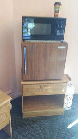 Bay Motel: cut carpet under microwave-antiquated fridge