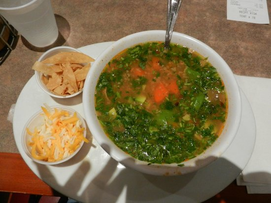 Bravo Burgers: Tortilla Soup with Tortillas & Cheese on the Side