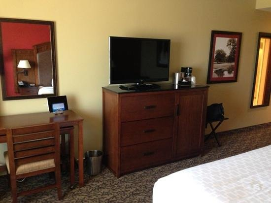 Grand Casino Hotel: work area, iPad and nice TV