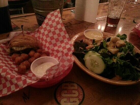 Horsefly Brewing Company: half a 50/50 burger, sweet potato tots and salad