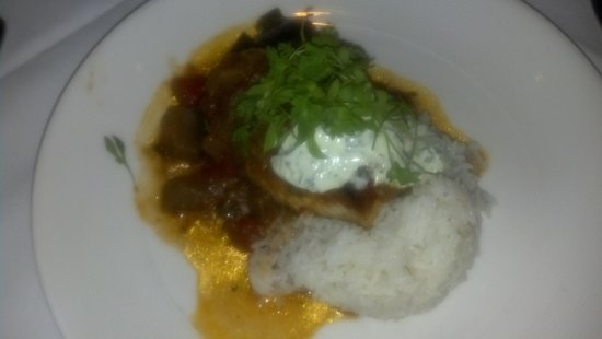 Ortanique on the Mile : Pan Seared Swordfish with aromatic jasmine rice, spicy eggplant