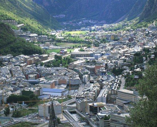Santa Coloma Church: View of Andorra La Vella and Escaldes-Engordany. Andorra la Vella is the capital of Principality