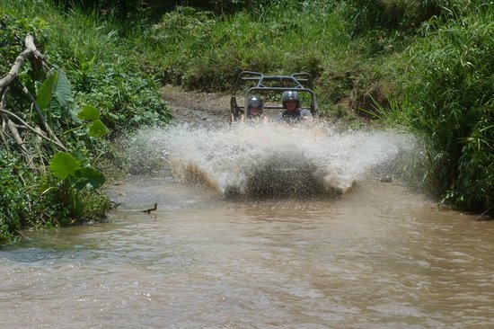 Chukka Caribbean Adventures: driving through on of the many rivers