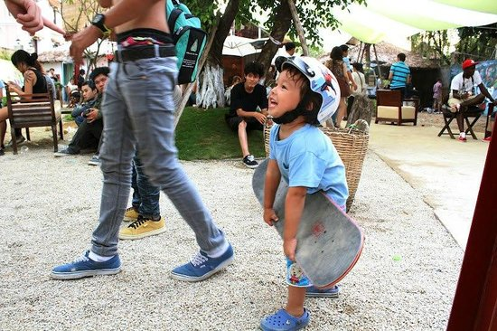 My son, ready to ride the half-pipe at Saigon Outcast.
