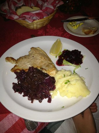 The Tiroler Hut Restaurant: *Gluten Free* - Turkey Schnitzel ~ Served with Mashed Potatoes and Red Cabbage