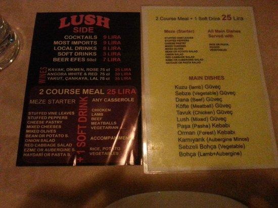 Lush Restaurant Bar: Menyen