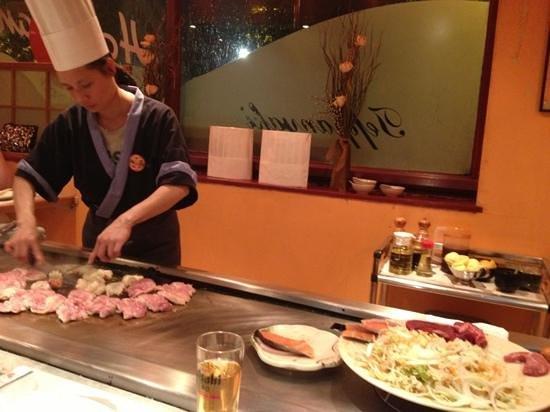 Hanahana: chicken cooking, steak and salmon waiting...