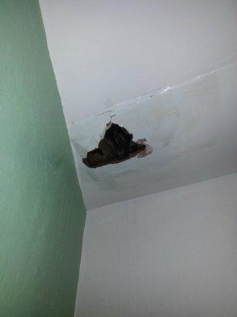 Croyland Guest House: Ceiling hole