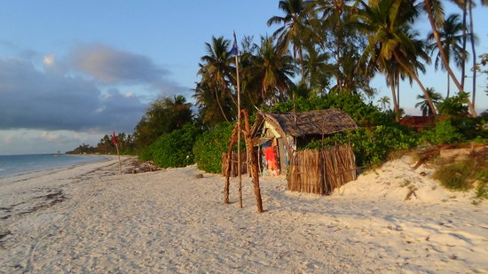 Evergreen Bungalows: the view along the beach