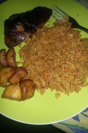 Afriteo Restaurant: Jerk chicken, jollof rice and fried plantain