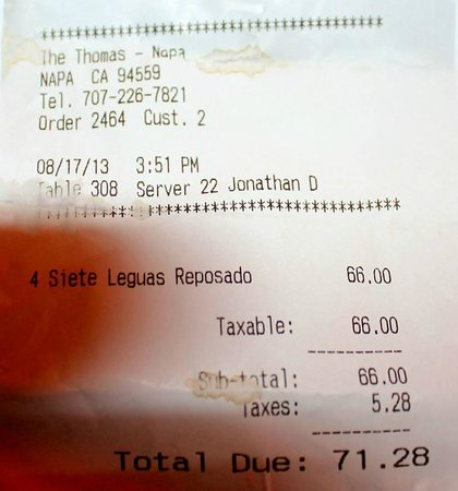 The Thomas at Fagiani's: 4 Margaritas $71+ ?? :(