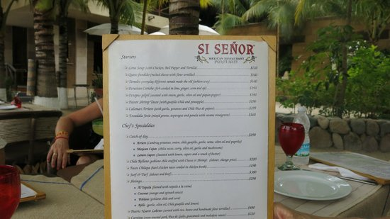 The menu picture of si senor punta de mita tripadvisor for Senor fish menu