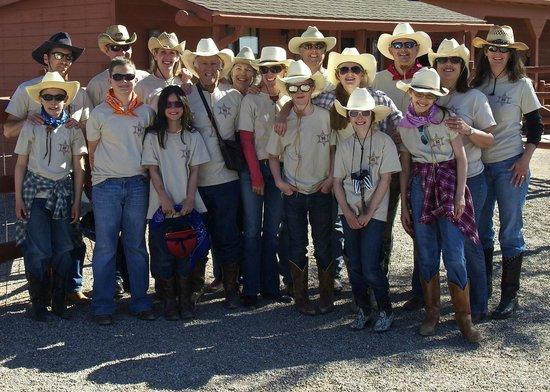Flying E Ranch: Our group prepared to ride