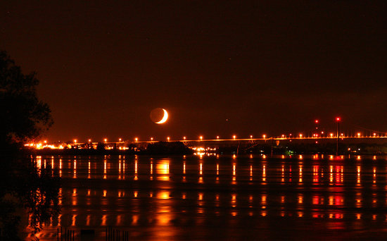 Off the Hook Bed and Breakfast: Crescent moon over the bridge to canada