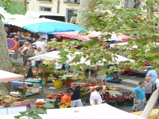 Poppys Chambres d'Hotes : Ceret market from the bedroom window