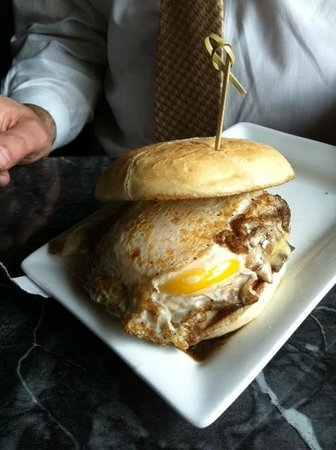 Downtown City Tavern : Build-Your-Burger...with a fried egg, steak sauce, sauteed onions, & American Cheese