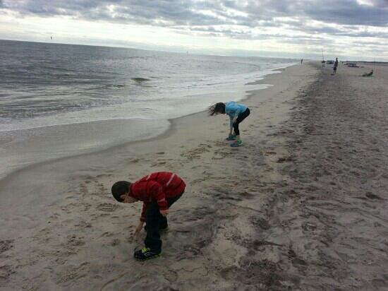 Robert Moses State Park: The kids writing their names in the sand