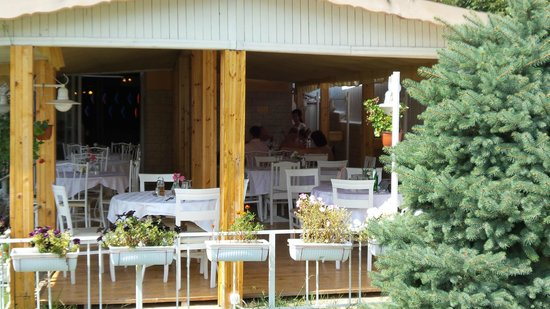 Hotel Devora: Restaurant terrace.