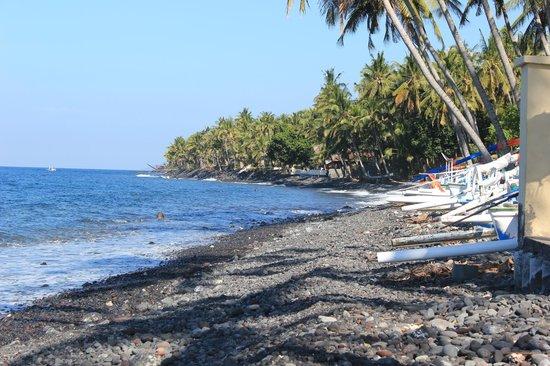 Kubu Indah Dive & Spa Resort: Beach (house reef has great snorkelling!)