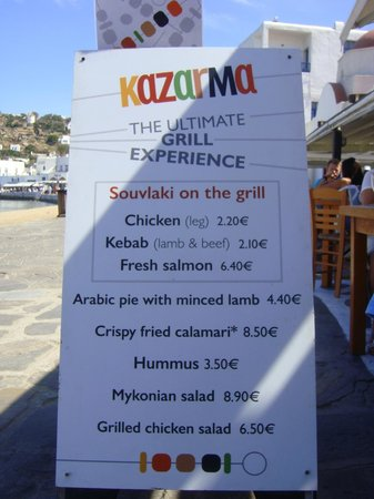 Kazarma : side walk menu