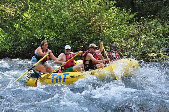 TnT Whitewater Rafting: Tonya getting us through the rapids