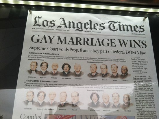 One of the Papers outside the Newseum after strike down of DOMA 2013