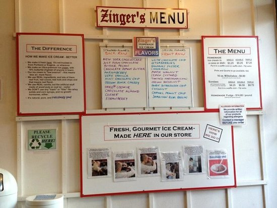 Zinger's Homemade Ice Cream: info about the ice cream ingredients