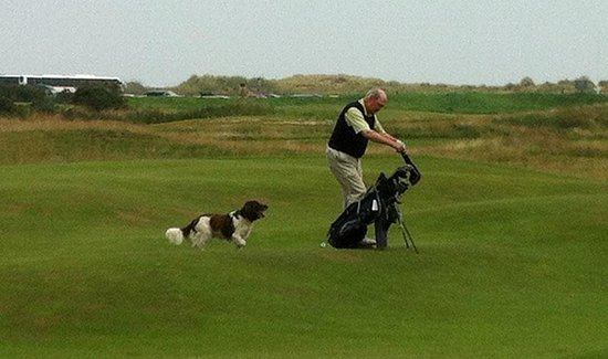 The Jigger Inn: Golfer with his dog.