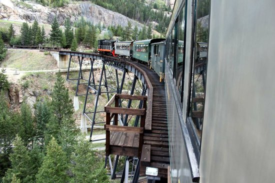 Georgetown Loop Historic Railroad: The train going across the trestle. Ask about the origin.