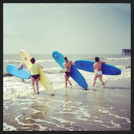 Charleston Surf Lessons: Me & my girls catching our first waves!