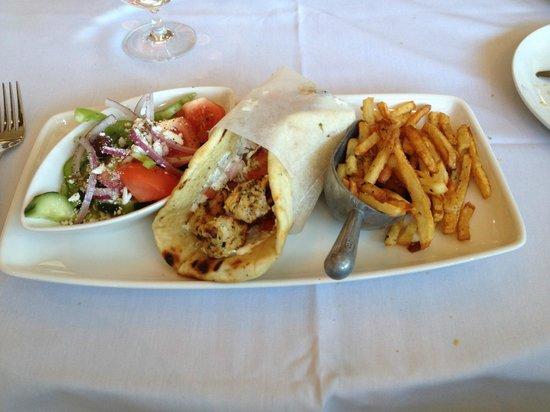 Kuzina: Pita Chicken Souvlaki with salad and fries